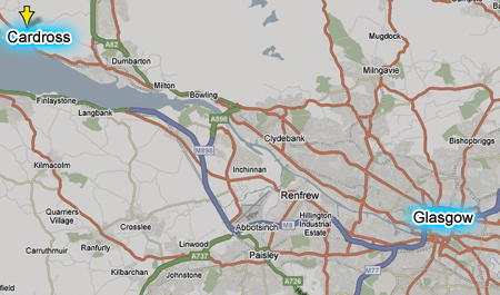 Map showing Cardross and Glasgow